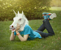 Pony Unicorn Horse Head Mask Latex Prop Animal Cosplay Costume Party Halloween