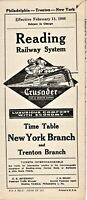 1946 READING RAILWAY RAILROAD SYSTEM NEW YORK AND TRENTON TRAIN TIME TABLE