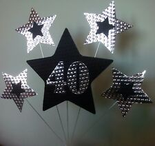 40th BIRTHDAY or ANNIVERSARY CAKE TOPPER. STARS, Silver and Black.