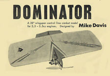 "Model Airplane Plans (UC): Dominator 28"" Combat for 2.5-3.5cc Engines"