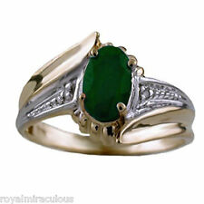 Genuine Diamond & Green Emerald Ring Sterling Silver or Gold Plated Silver