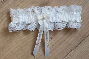 Personalised Ivory/Gold Garter Wedding Favour Bride to Be Hen Party Night Do