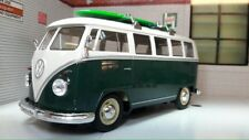 Vw Clásico bus T1 1962 azul/blanco con tabla de surf coche a escala 1 24/welly