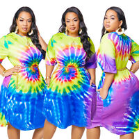 Plus Size Women Tie-dyed Print Short Sleeve Pockets Round Neck Loose Dress