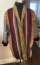 Vtg A LA BONNE RENOMMEE Women's 3/4 Length Coat Boho Gypsy Sz Large Brocade
