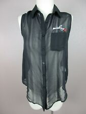 NWT Cecil McBee T124 Size M Women's Black Collared Sleeveless Button Down Blouse