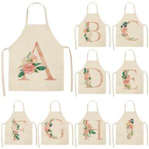 A-Z Letter Flower Kitchen Apron For Women Cotton Linen Cooking Apron Pinafore