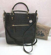Brahmin Black Melbourne Jackie Tote Croco Embossed Leather Handbag EUC