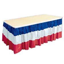 "Table Skirting Patriotic Red White Blue Party 4th July Decor 29""x14' USA New"