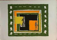 Mario Rossello litografia a colori Figure anno 1975 cm 50x70 firmata numerata