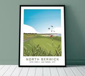 North Berwick Golf Club 13th Hole Travel Poster, Golfer Gift, Home Decor