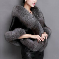 Women Winter Warm Faux Fur Coat Shawl Cocktail Shrug Cape Stole Wrap Scarf Cloak
