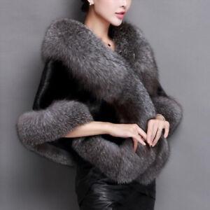 New Women Winter Faux Fur Coat Shawl Stole Wrap Scarf Cloak Cape Tops Warm
