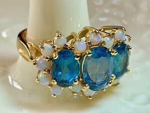 Blue Topaz White Opal Gold o/ Silver Ring Sz. 4 3/4  Oval  2.56 ctw Estate