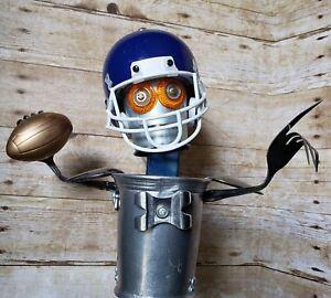 Folk Art Football Player Quarterback Statue Found Object Sculpture Signed