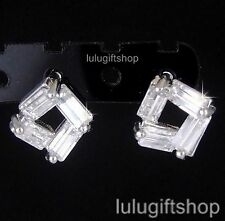 18K WHITE GOLD PLATED DIAMANTE BAGUETTE CUT STUD EARRINGS USE SWAROVSKI CRYSTALS