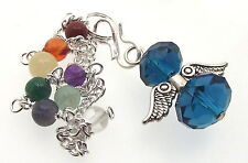 Cyan Crystal Angel Charm Pendulum Doswer with Chakra Gemstone Chain