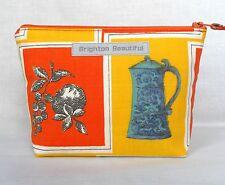 Tela De Colección Pequeño bolso de embrague 1950s Bodegón Kitchenalia naranja y turquesa