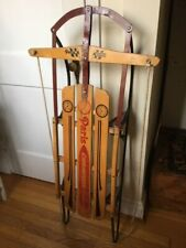 Vintage Wooden Sled for Holiday Christmas Decor - PARIS CHAMPION FASTBACK