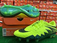 New Nike Hypervenom Phatal II FG Volt / Black Soccer Cleats Size 9.5 New In Box