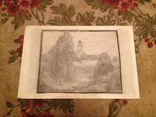 Antique Early 20th Century Charcoal Landscape Drawing w/ Tower or Lighthouse
