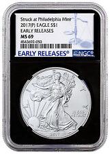 2017-(P) Silver Eagle Struck at Philadelphia Mint NGC MS69 ER Black SKU47239
