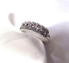 925 STERLING SILVER  MARCASITE FERN ROWS RING SIZE 9