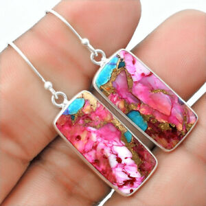 Natural Kingman Pink Dahlia Turquoise 925 Sterling Silver Earrings Jewelry E240