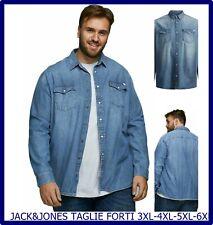 Camicia camicie uomo taglie forti di jeans western denim cotone 3xl 4xl 5xl 6xl