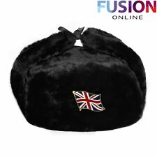 British Trapper Hat With Britain Flag Badge Faux Fur Ushanka Cossack Flaps Black