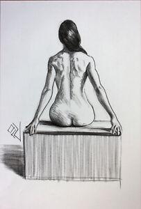 Original Female Charcoal on paper life Drawing nude Girl woman artwork realism