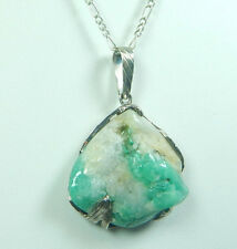 Colombian Emerald Rock 110 Cts Rough Mineral Pendant set in Silver 950 Muzo mine