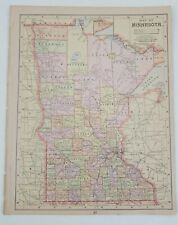 Antique 1892 Mast, Crowell & Kirtpatrick Popular Atlas Map- Minnesota, Wisconsin