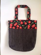 Ladies Cherry And Black Eco Shopping tote School Library Or Casual Bag