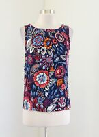 Boden Blue Multi Color Bold Floral Print Shell Tank Top Blouse Size UK 8 US 4
