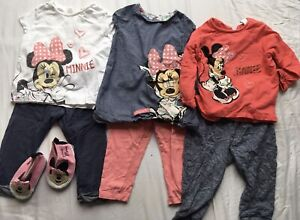 Disney Minnie Mouse Bundle 9-12 Months Girls Jumper T-Shirt Trousers Dress Shoes