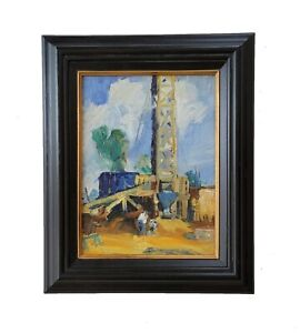 Vintage American Oil Rig Workers Landscape Industrial Impressionist Oil Painting