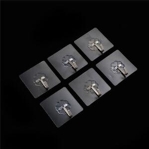 6X Stainless Steel Paste Hook Suction Cup Glass Hooks Rails Hanging Sucker、Ne^lk