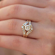 1.25 Ct Solitaire Round Diamond Guard 14k Yellow Gold Over Engagement Ring