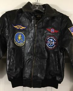 Alpha Industries Ace Bomber Navy Aviator Leather Jacket w/ Patches Size YS New!