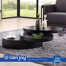 Black Rotatable Round Coffee Table Modern Rotating Living Room Furniture