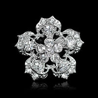 NEW SILVER DIAMANTE FLOWER RHINESTONE BROOCH BROACH PIN COSTUME JEWELLERY- GIFT