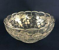 vintage Mid-Century Modern clear crystal & sterling silver fruit bowl c.1950+