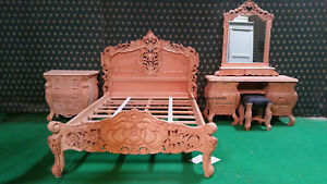 Raw Unpainted Double or King Rococo bed +dressing table mirror+ stool+ 1 bedside