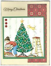 CHRISTMAS Holiday Greeting Card - Decorating The Tree - Handmade A7 Size