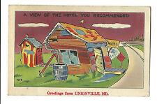 1944 Comic Postcard Greetings From Unionville Md Rundown Hotel