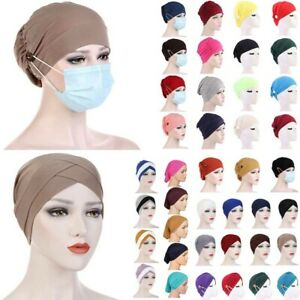 Solid Cotton Muslim Turban Hat For Women Button Bonnet Inner Hijab Cap Head Wrap