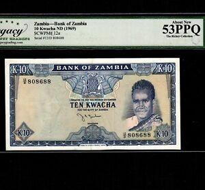 Zambia 10 Kwacha 1969 P-12a * Legacy AU 53 PPQ * High Grade *