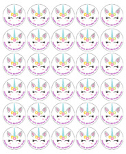 30 Unicorn Personalised Cupcake Toppers Edible Wafer Paper Fairy Cake Toppers