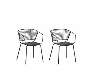 Set of 2 Accent Dining Chairs Black Metal Black Faux Leather Seat Pad Rigby